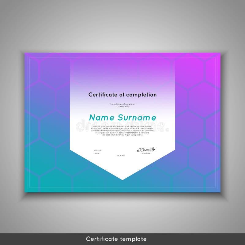Certificaat van voltooiing - appreciatie, voltooiing, graduatie, diploma of toekenning met grappige geometrische Skandinaviër vector illustratie