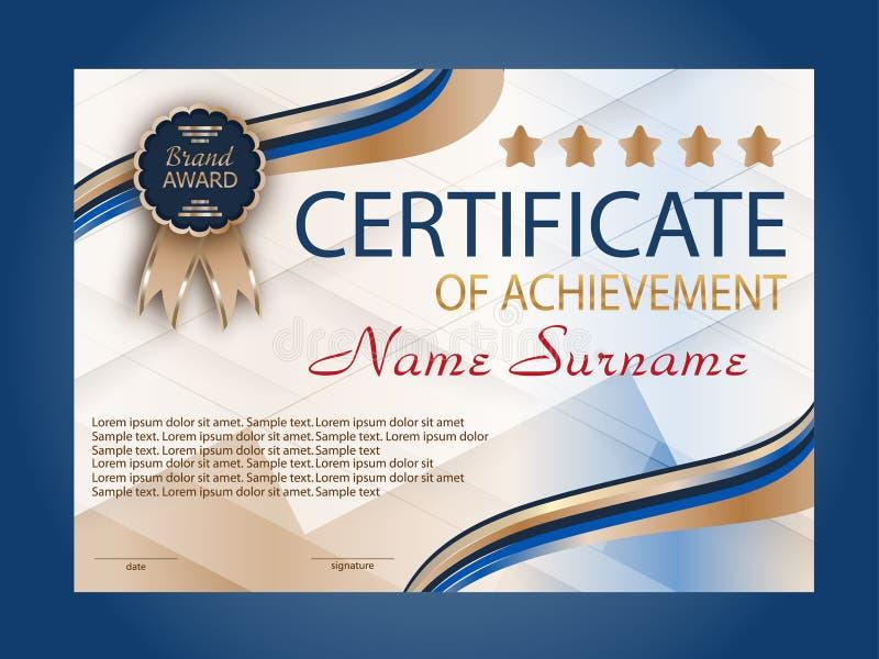 Certificaat van voltooiing, diploma beloning Het winnen van de concurrentie toekenningswinnaar Blauwe decoratieve elementenachter stock illustratie