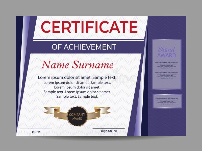 Certificaat van voltooiing of diploma Beloningssport Het winnen van de concurrentie toekenningswinnaar Vector royalty-vrije illustratie