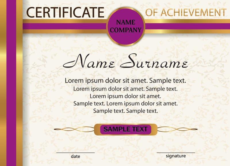 Certificaat van voltooiing, diploma Malplaatje met goud en purp vector illustratie