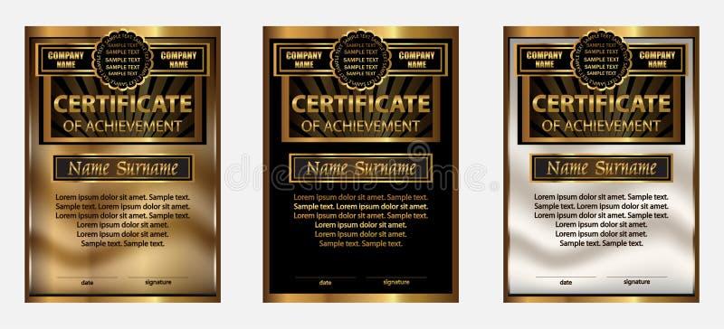 Certificaat van voltooiing of diploma Vastgesteld goud beloning winning vector illustratie