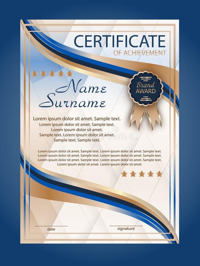 Certificaat van voltooiing, diploma verticaal malplaatje Het winnen van de concurrentie toekenningswinnaar beloning Blauwe decora royalty-vrije illustratie