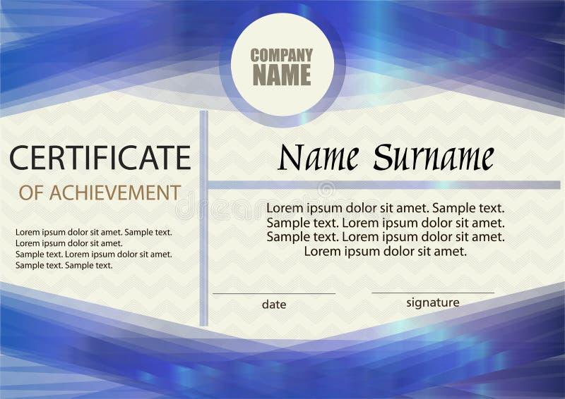 Certificaat van voltooiing of diplomamalplaatje vector illustratie