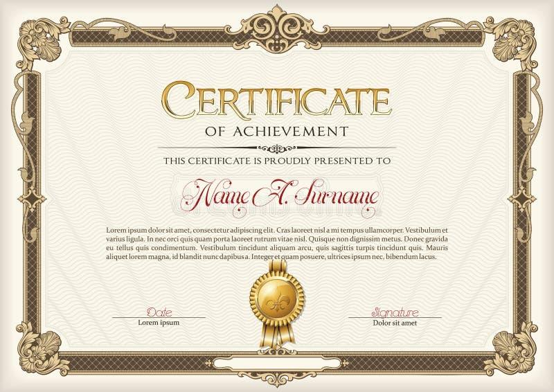 Certificaat van Voltooiings Uitstekend Kader Landschap stock illustratie