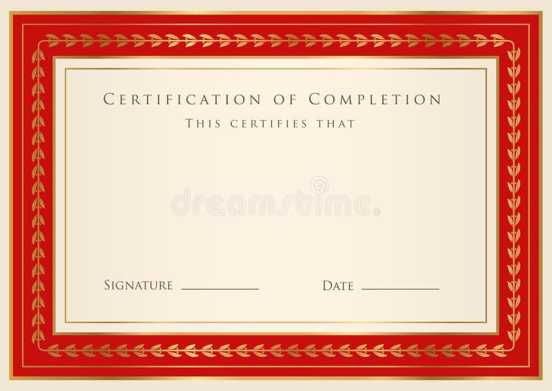 Certificaat van voltooiingsmalplaatje vector illustratie