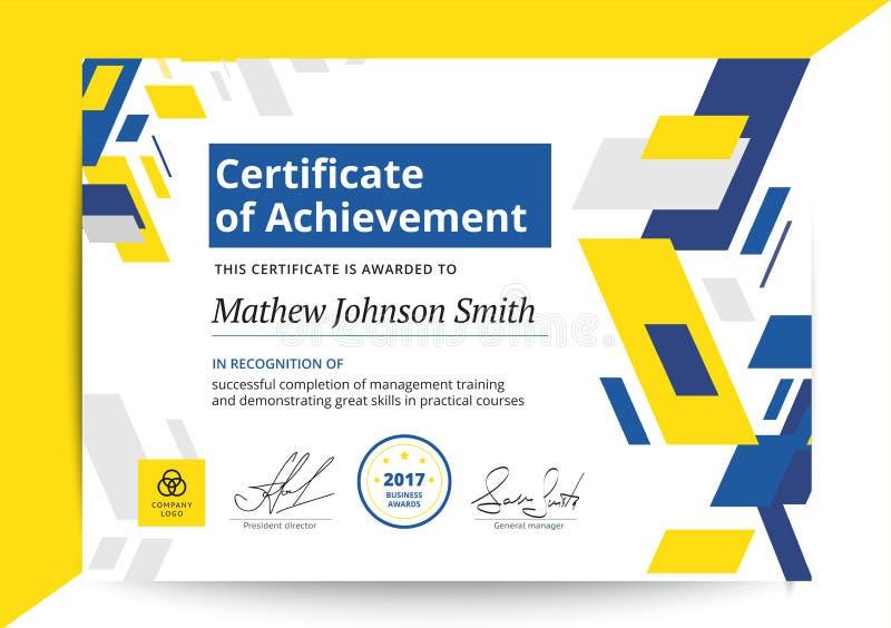 Certificaat van voltooiingsmalplaatje in modern ontwerp Zaken D vector illustratie