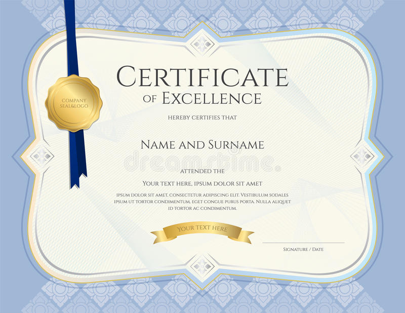 Certificaat van voltooiingsmalplaatje in vector met toegepaste Thai royalty-vrije illustratie