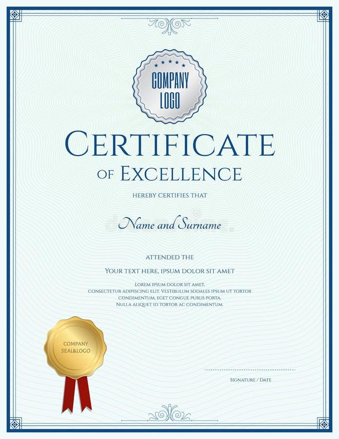 Certificaat van voortreffelijkheidsmalplaatje met gouden verbinding royalty-vrije illustratie