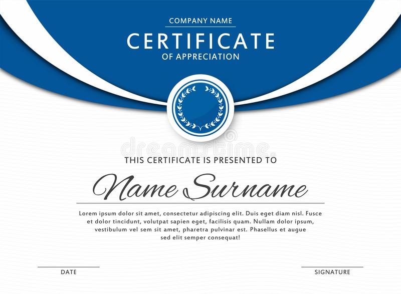 Certificaatmalplaatje in elegante blauwe kleur met medaille en abstracte grenzen, kaders Certificaat van appreciatie, toekennings royalty-vrije illustratie