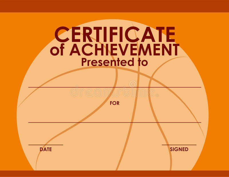Certificaatmalplaatje met basketbalachtergrond stock illustratie