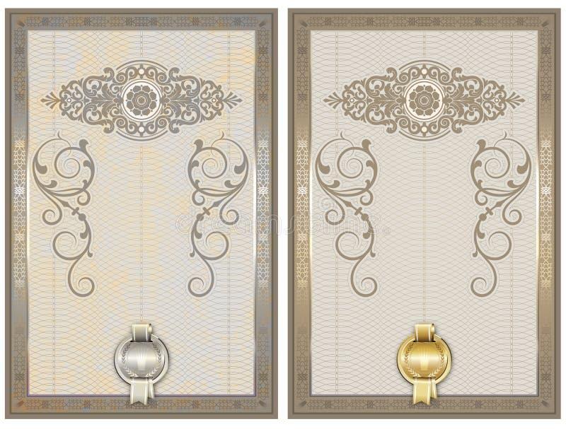 Certificaatmalplaatje met decoratieve en guilloche elementen royalty-vrije illustratie