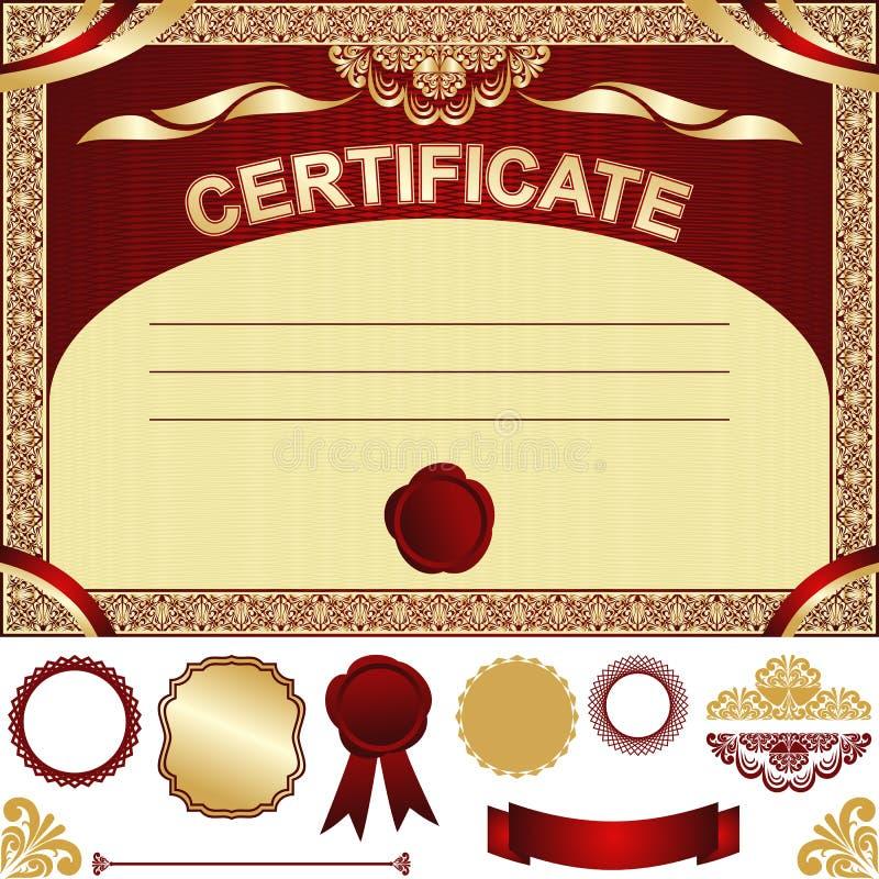 Certificaatmalplaatje met extra elementen. royalty-vrije illustratie
