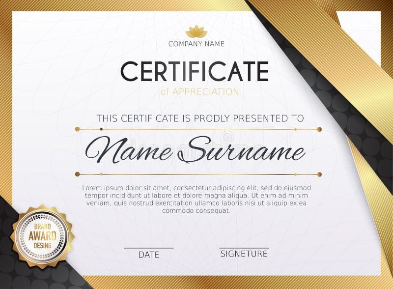 Certificaatmalplaatje met gouden decoratieelement Ontwerp dipl royalty-vrije illustratie