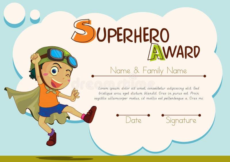 Certificaatmalplaatje met jongen die superhero zijn stock illustratie