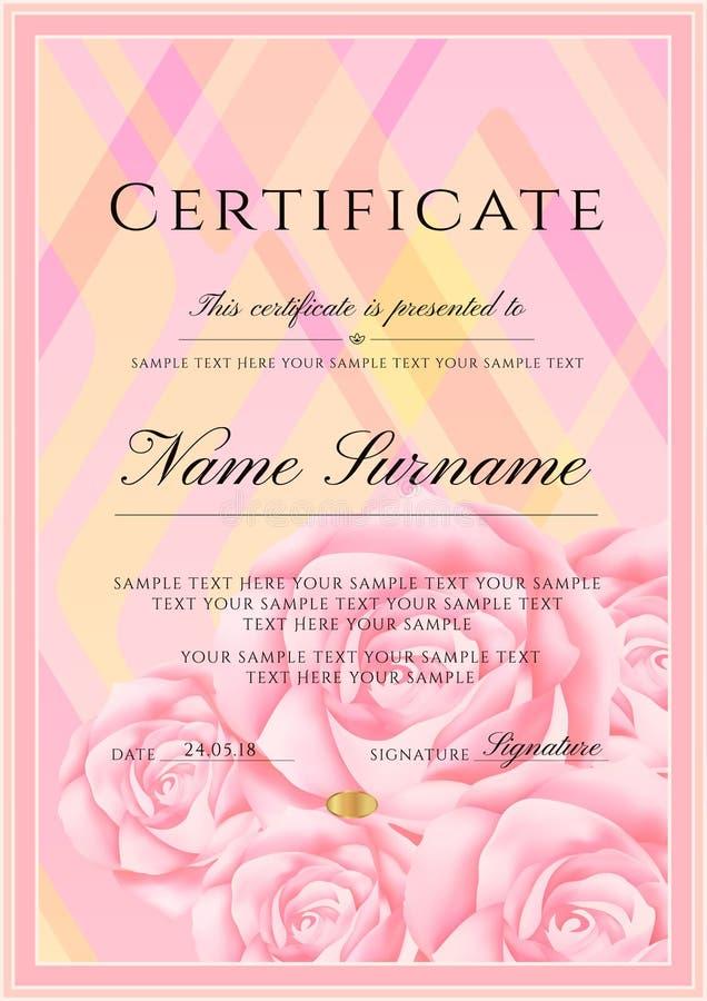 Certificaatmalplaatje met kadergrens en patroon Ontwerp voor Diploma, certificaat van voltooiing royalty-vrije illustratie