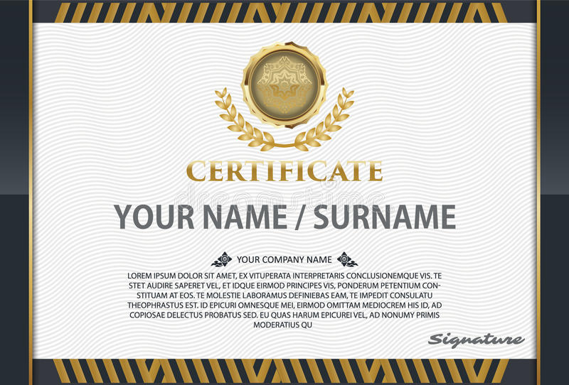 Certificaatmalplaatje met luxepatroon, diploma, Vectorillustra vector illustratie