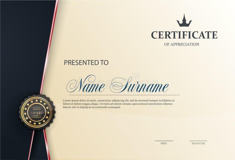 Certificaatmalplaatje met luxepatroon, diploma, Vectorillustratie stock illustratie