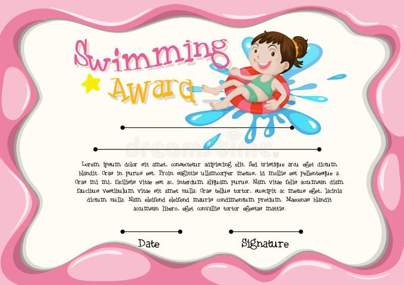 Certificaatmalplaatje met meisje het zwemmen stock illustratie