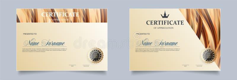 Certificaatmalplaatje in vector royalty-vrije illustratie