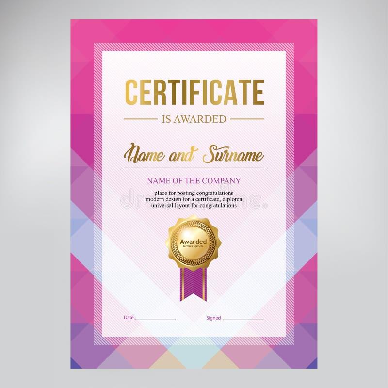 Certificaatontwerp, diplomamalplaatje, creatieve geometrische blauwe achtergrond, vector stock illustratie