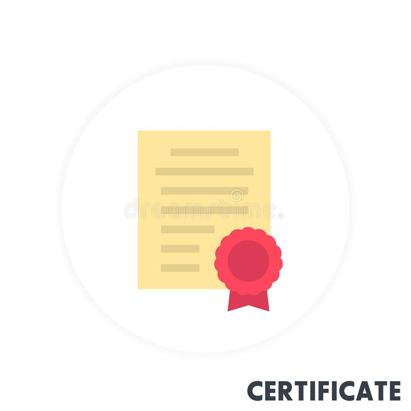 Certificaatpictogram in vlakke stijl stock illustratie