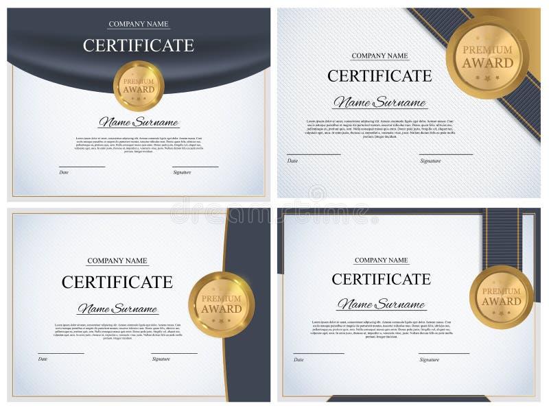 Certificaatsjabloon Achtergrondinzamelingsreeks Het ontwerpspatie van het toekenningsdiploma Vector illustratie royalty-vrije illustratie