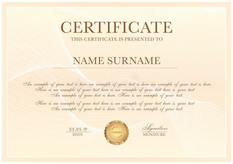 Certificaatsjabloon met Guilloche patroon, zilveren kadergrens en gouden toekenning royalty-vrije illustratie
