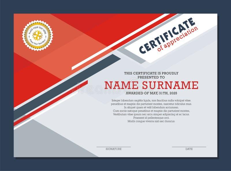Certificaatsjabloon, met modieus en modern ontwerp stock illustratie