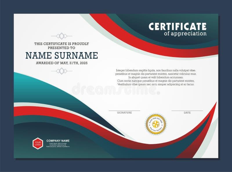 Certificaatsjabloon, met modieus en modern ontwerp royalty-vrije illustratie