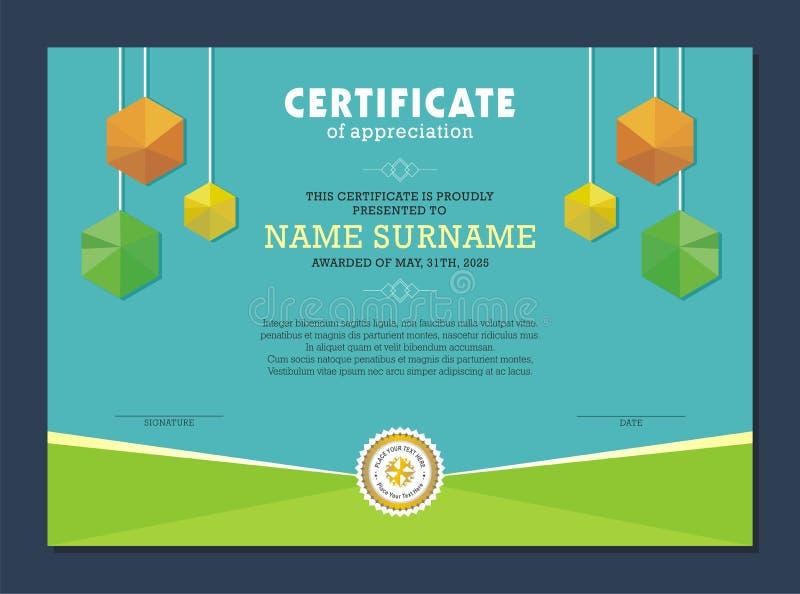 Certificaatsjabloon, met modieus en modern ontwerp vector illustratie