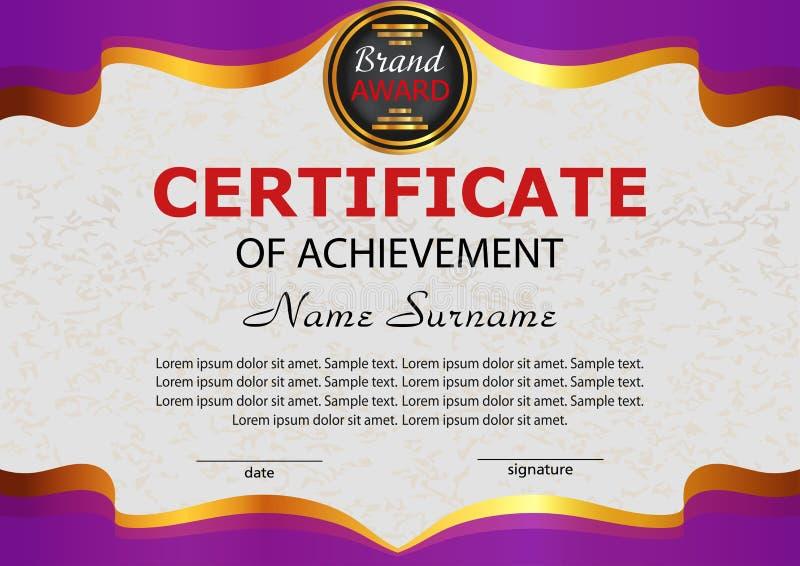 Certificaatvoltooiing Elegant purper malplaatje beloning Winnin stock illustratie