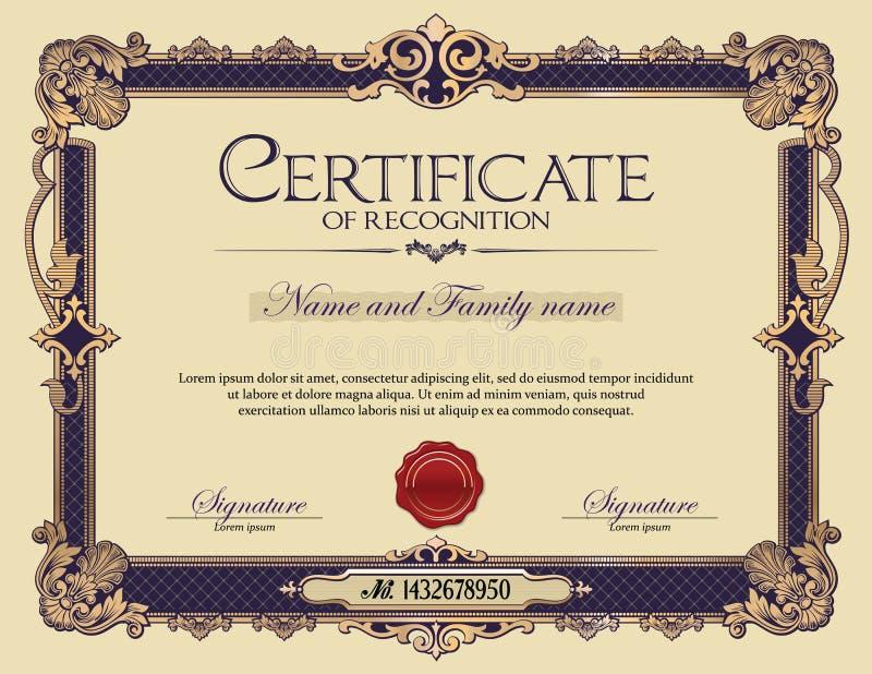 Certificado antiguo del marco del ornamento del vintage de reconocimiento libre illustration