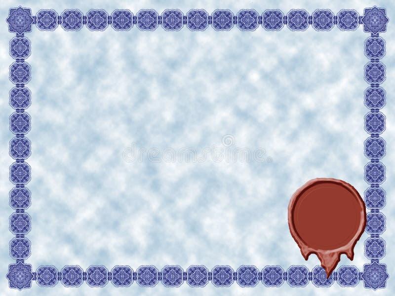 Certificado azul ilustração royalty free