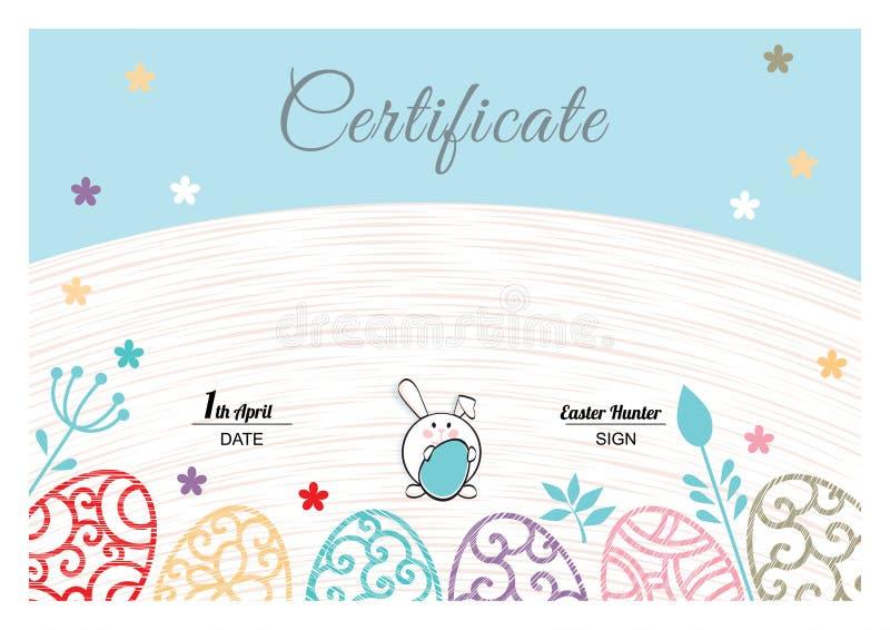 Certificado azul blanco de Pascua con el conejito, huevos ornamentales multicolores stock de ilustración