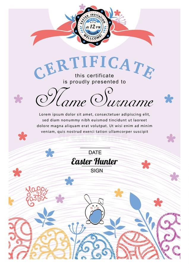 Certificado azul blanco de Pascua con el conejito, huevos ornamentales multicolores ?rbol congelado solo libre illustration