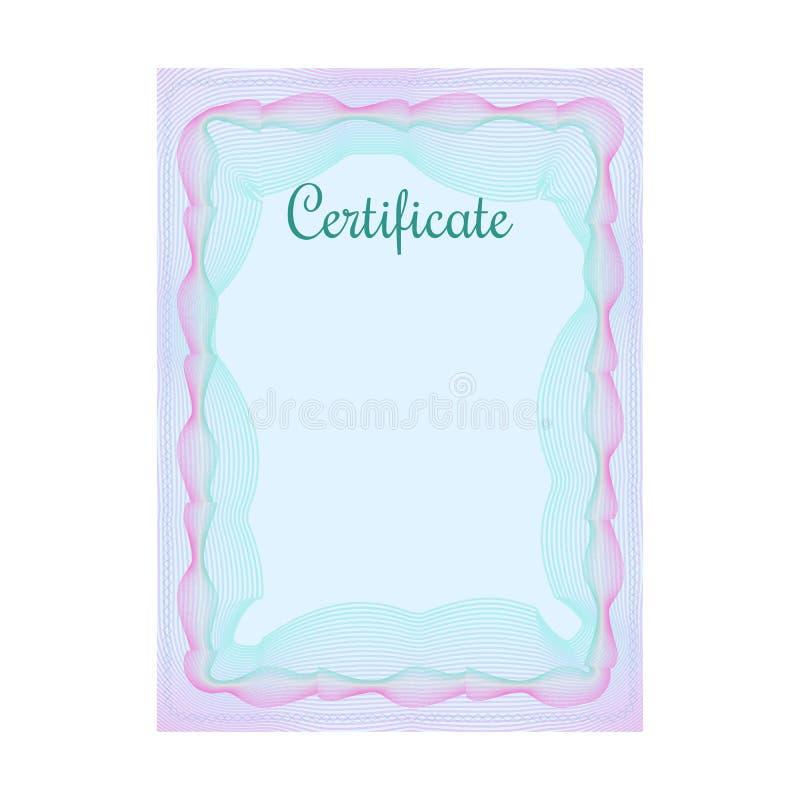 Certificado azul oficial do Guilloche com quadro ilustração stock
