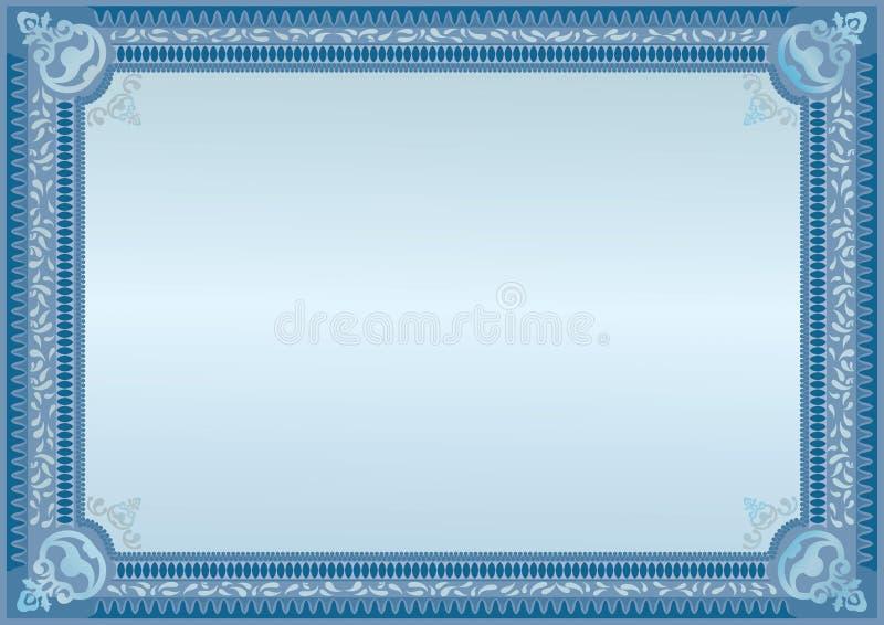 Certificado azul Placa do oficial Placa horizontal molde ilustração stock
