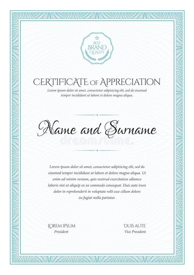 certificado Beira da moeda do diploma do molde Comprovante de presente do fundo da concessão ilustração stock
