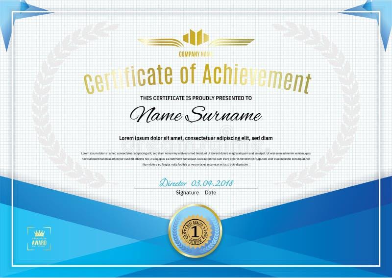 Certificado blanco oficial con los elementos azules del diseño del triángulo Diseño moderno limpio del negocio ilustración del vector