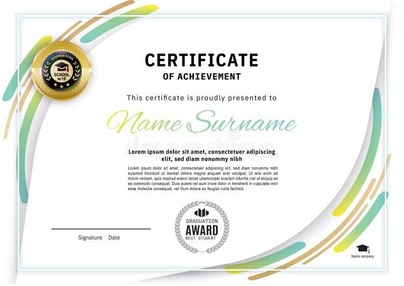 Certificado blanco oficial con los elementos del diseño de la Línea Verde Diseño moderno limpio del negocio stock de ilustración