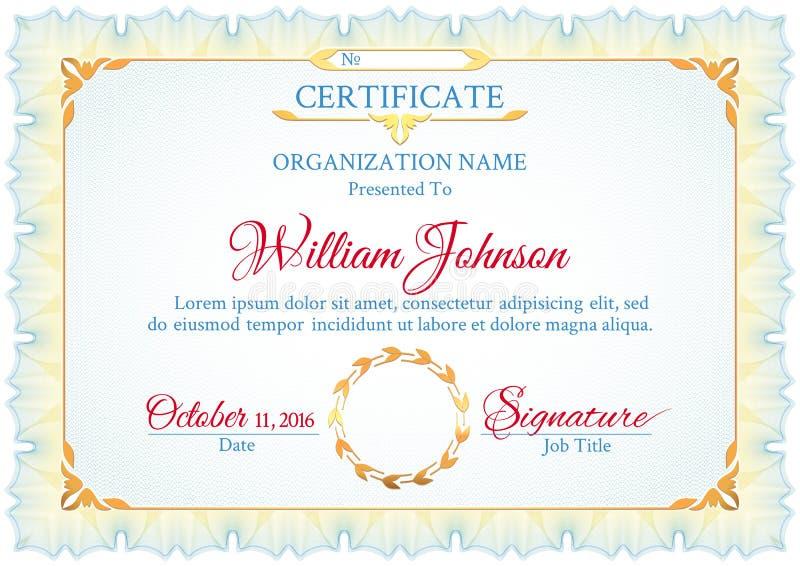 Certificado branco clássico ilustração royalty free