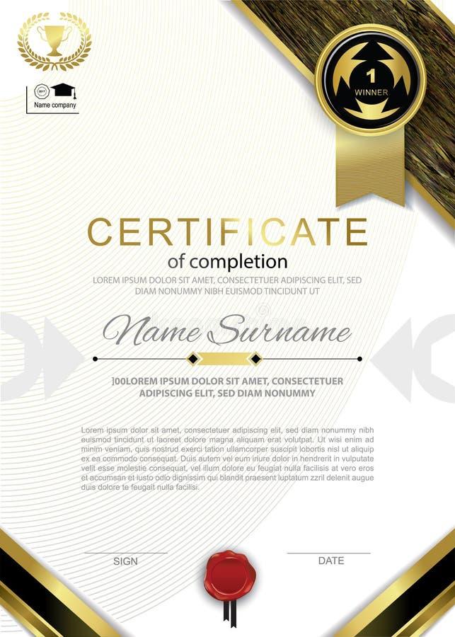 Certificado branco oficial com o emblema do preto do ouro, elementos do projeto do ouro, placa vermelha do oficial da bolacha ilustração do vetor