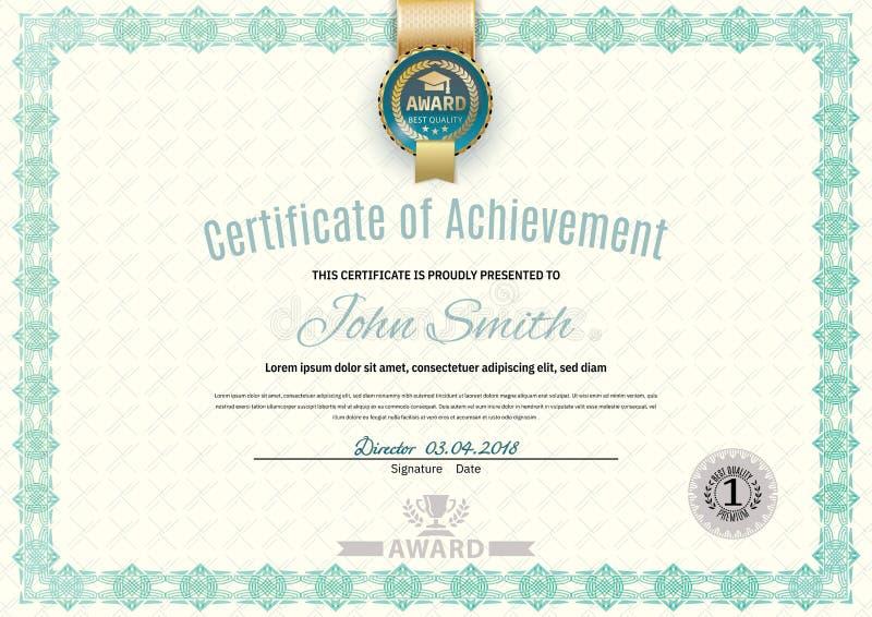 Certificado branco oficial do formato a4 com beira verde, emblema do ouro, placa simples oficial ilustração stock