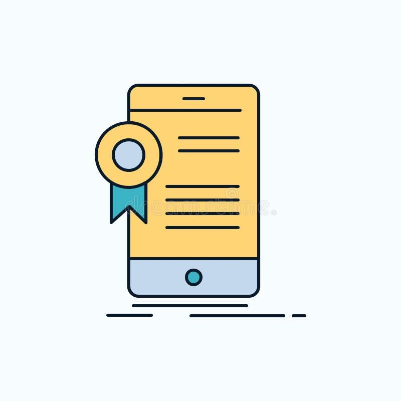 certificado, certificação, App, aplicação, ícone liso da aprovação sinal e s?mbolos verdes e amarelos para o Web site e o m?bil ilustração royalty free