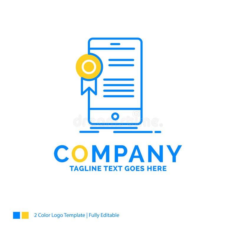 certificado, certificação, App, aplicação, grito azul da aprovação ilustração do vetor