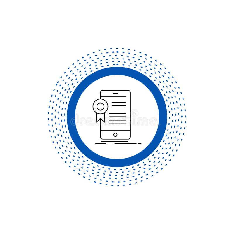 certificado, certificación, App, uso, línea icono de la aprobación Ejemplo aislado vector stock de ilustración