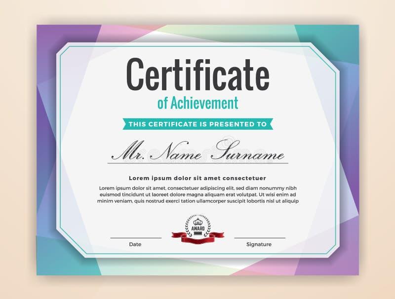 Certificado colorido de fondo del logro ilustración del vector