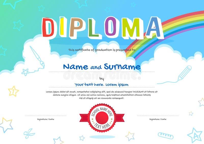 Certificado colorido do diploma das crianças no estilo dos desenhos animados com chuva do céu ilustração do vetor