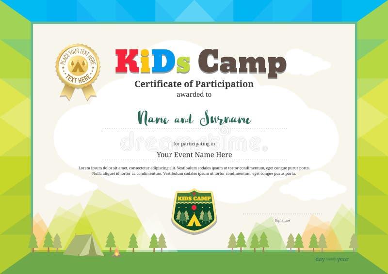 Certificado colorido do partipation para atividades das crianças ou crianças ilustração royalty free