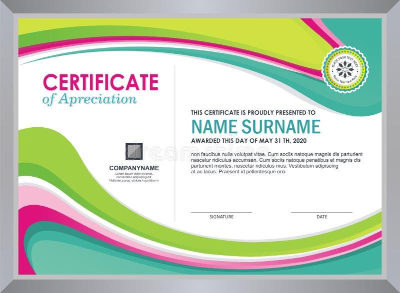 Certificado com projeto colorido à moda da onda ilustração royalty free